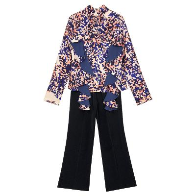 water painting blouse & wide bootcut slacks